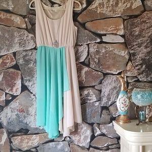 Olive & Oak Sz L Teal & Cream  Scarf Dress EUC